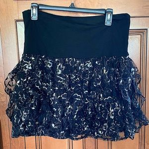 Rue 21 Black and Silver Glitter Skirt Size XL